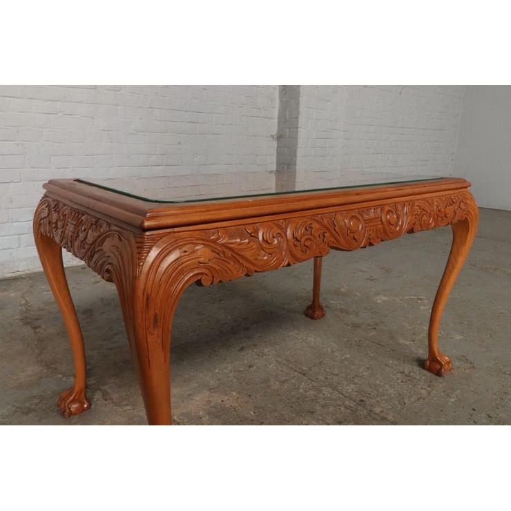 #9301 ガラストップ コーヒーテーブル 人気の猫脚 明るい色味 細かな彫刻 アンティーク家具 オーク製 1920年代_画像6