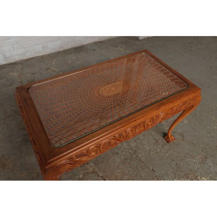 #9301 ガラストップ コーヒーテーブル 人気の猫脚 明るい色味 細かな彫刻 アンティーク家具 オーク製 1920年代_画像9