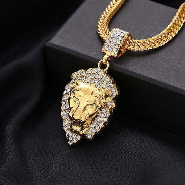 HIPHOP★ライオンの頭 ネックレス ペンダント メンズ ダイヤモンド ダイヤ嵌める 贅沢 男性用 アクセサリー ギフト アメカジ ゴールド_画像1