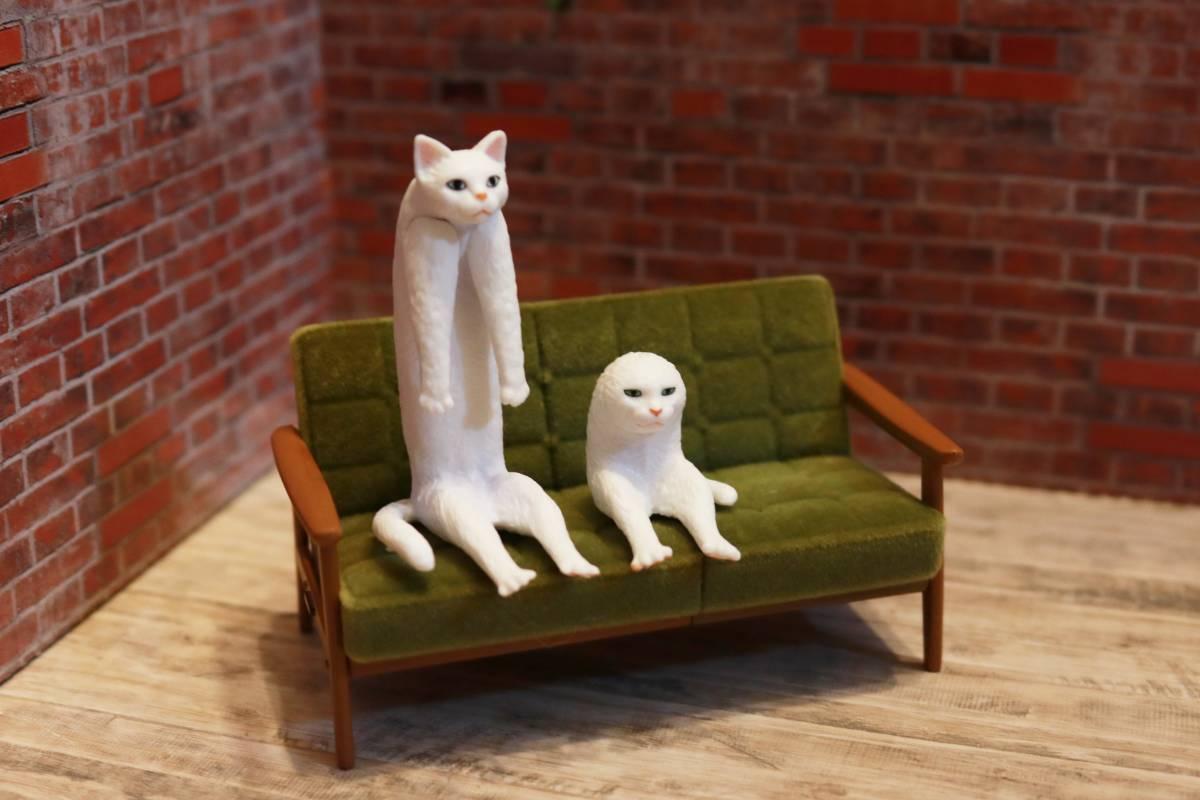 【ミニチュア】キタンクラブ ガチャ 座る変な猫 【2種 二足歩行猫 長い猫】 猫 フィギュア