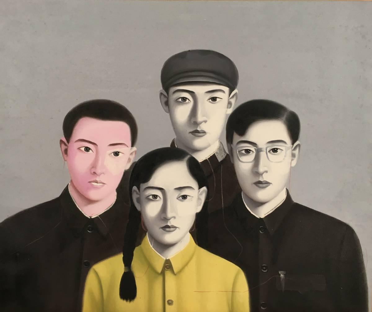 不詳!/[無銘・人物4人・油絵・20F]/中国字画