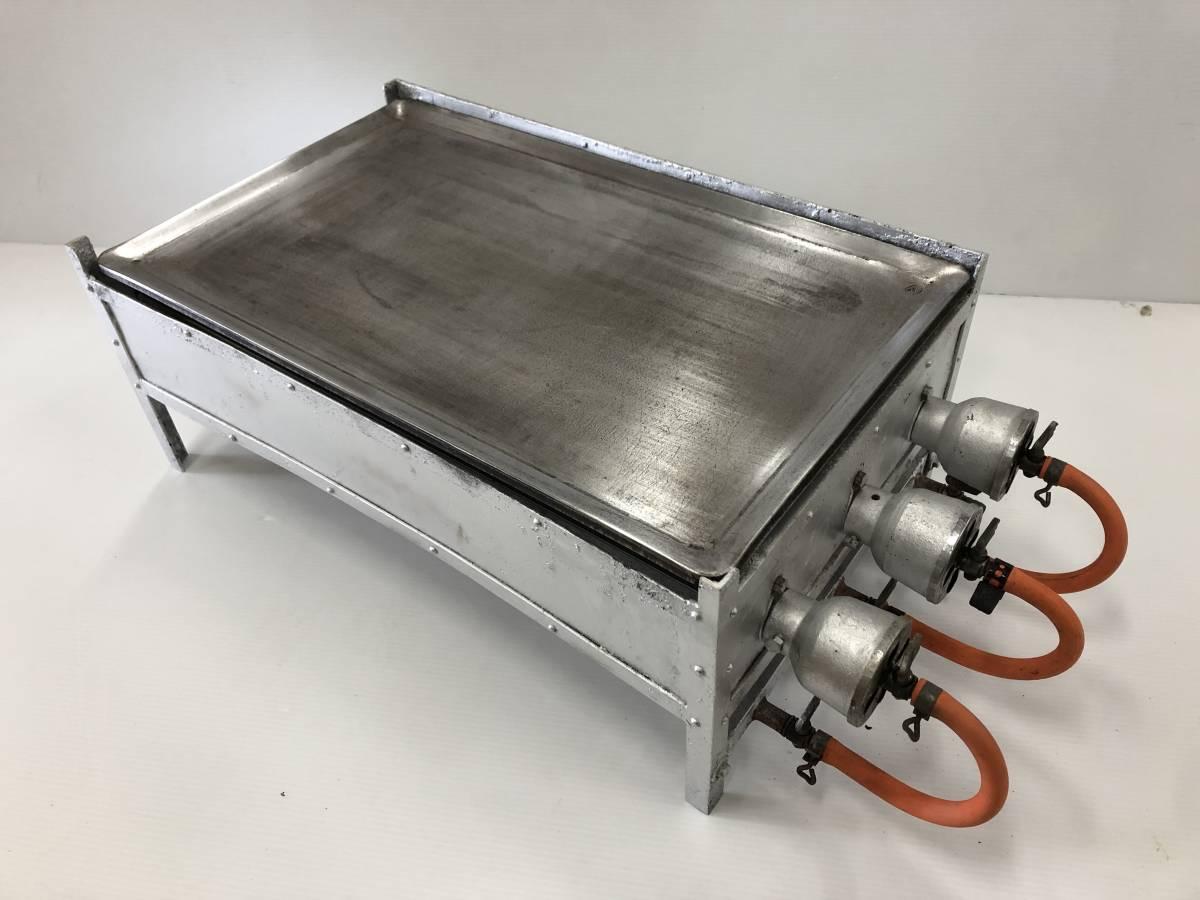 【動作確認済】 LPガス 鉄板焼き器 ツヤマ 厚み7mm 鉄板 W620(+160)×D380×H250mm 業務用 鉄板焼 飲食店 屋台 厨房 中古 プロパンガス_画像1