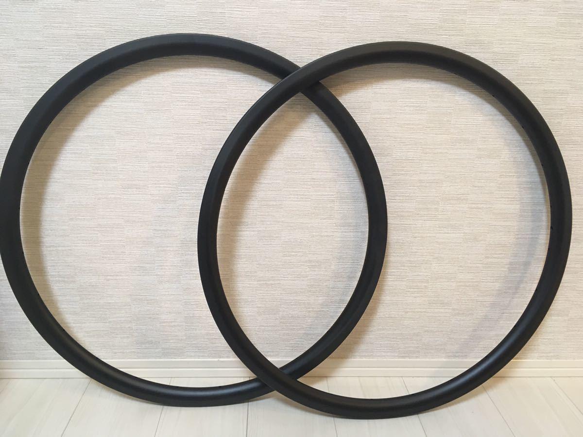 ロード シクロクロス カーボンリム 2本セット 370g ディスクブレーキ専用 チューブレス_画像1