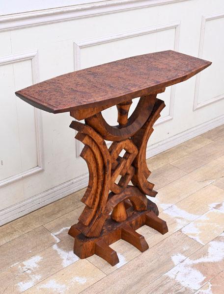 MD16 サイン有り 高島屋購入 15万円 輸入規制材 ブビンガ使用 彫刻 サイドテーブル オブジェ台 コンソールテーブル ランプテーブル_画像1