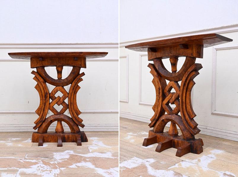 MD16 サイン有り 高島屋購入 15万円 輸入規制材 ブビンガ使用 彫刻 サイドテーブル オブジェ台 コンソールテーブル ランプテーブル_画像2