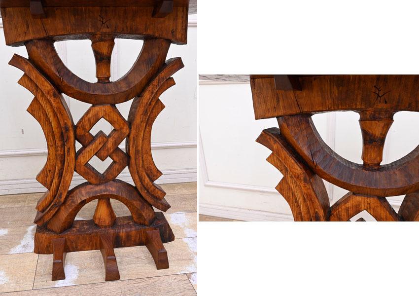 MD16 サイン有り 高島屋購入 15万円 輸入規制材 ブビンガ使用 彫刻 サイドテーブル オブジェ台 コンソールテーブル ランプテーブル_画像5