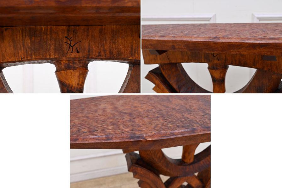 MD16 サイン有り 高島屋購入 15万円 輸入規制材 ブビンガ使用 彫刻 サイドテーブル オブジェ台 コンソールテーブル ランプテーブル_画像4