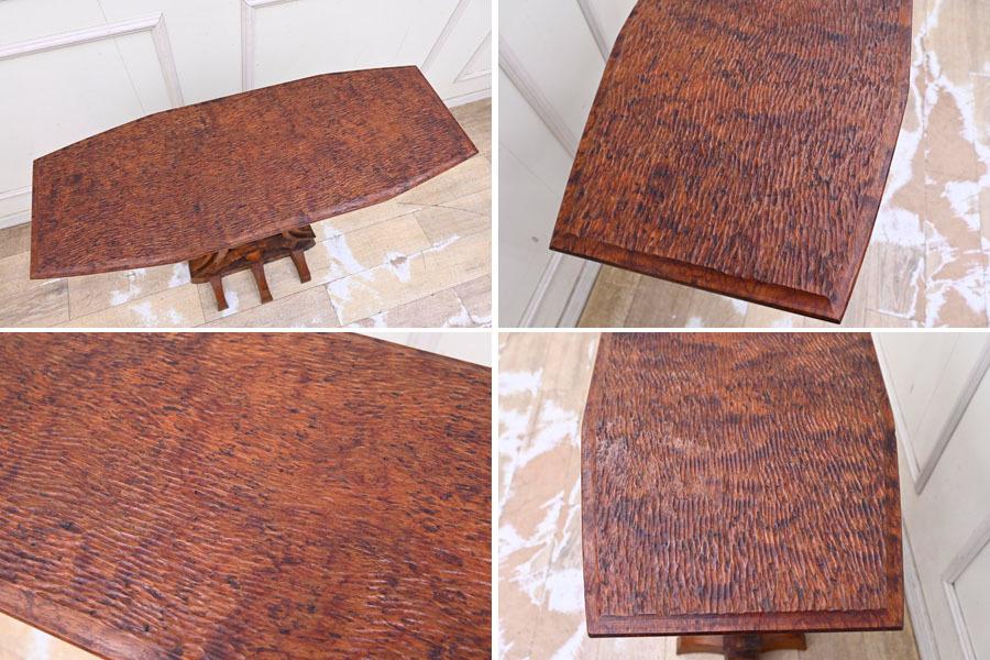 MD16 サイン有り 高島屋購入 15万円 輸入規制材 ブビンガ使用 彫刻 サイドテーブル オブジェ台 コンソールテーブル ランプテーブル_画像3