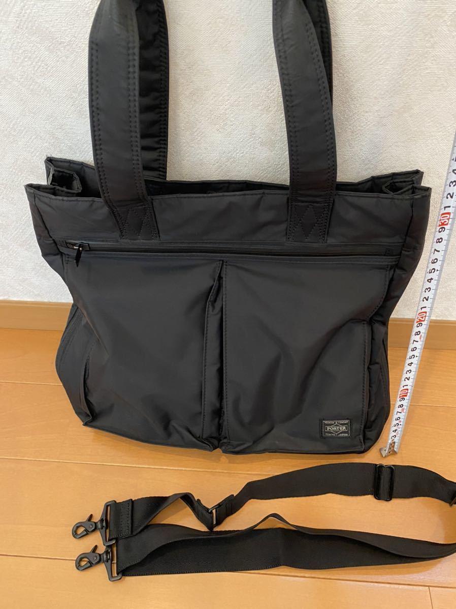吉田カバン PORTER トートバッグ トライブ 2WAY ショルダーバッグ ブラック 品番383ー16800-10_画像2