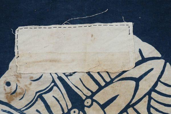 2135F11◆家紋風呂敷◆ボロ◆藍染木綿古布◆筒描き◆家紋(向かい蝶)◆BORO◆ANTIQUE◆リメイク素材_画像10