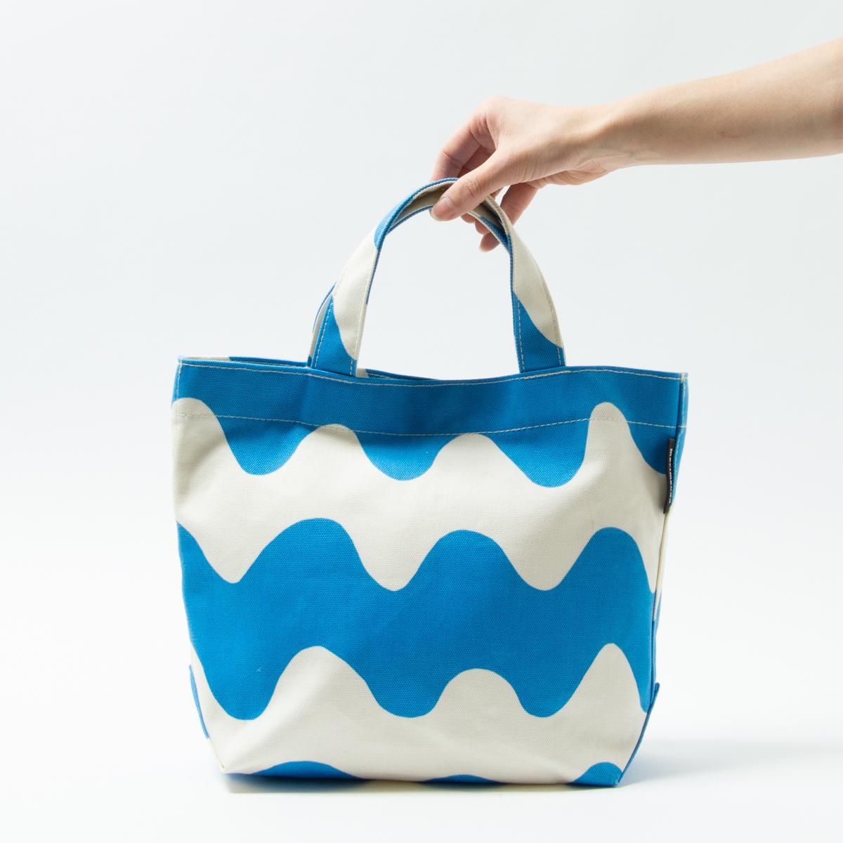 【1円スタート】美品 marimekko ハンドバッグ トート Mサイズ 手持ち鞄 マチあり キャンバス マリメッコ 帆布 ホワイト ブルー
