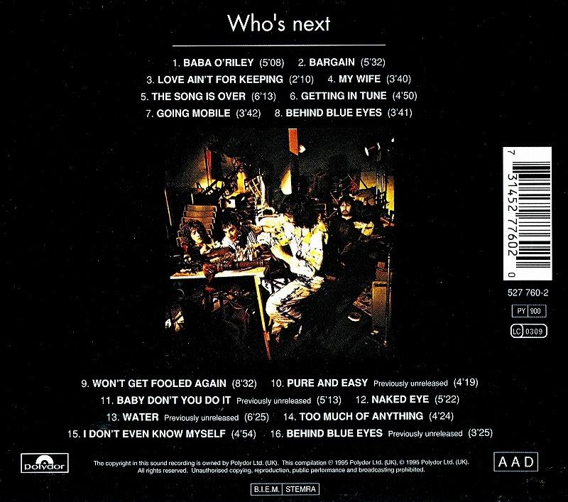 ◆◆THE WHO◆WHO'S NEXT ザ・フー フーズ・ネクスト 71年作 リマスター盤 即決 送料込◆◆
