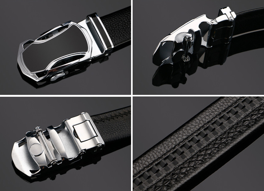 BT001 メンズ 高級本革 レザー ビジネス フォーマル ベルト 穴なし サイズオート調整可能 ブラック_画像8