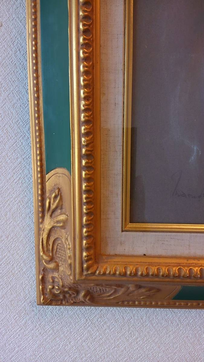◆◇松田穣 「女性」 パステル画 額装 美人画 真作保証◇◆_画像3