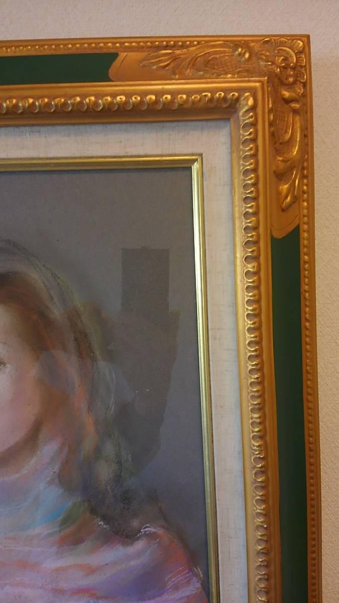 ◆◇松田穣 「女性」 パステル画 額装 美人画 真作保証◇◆_画像5