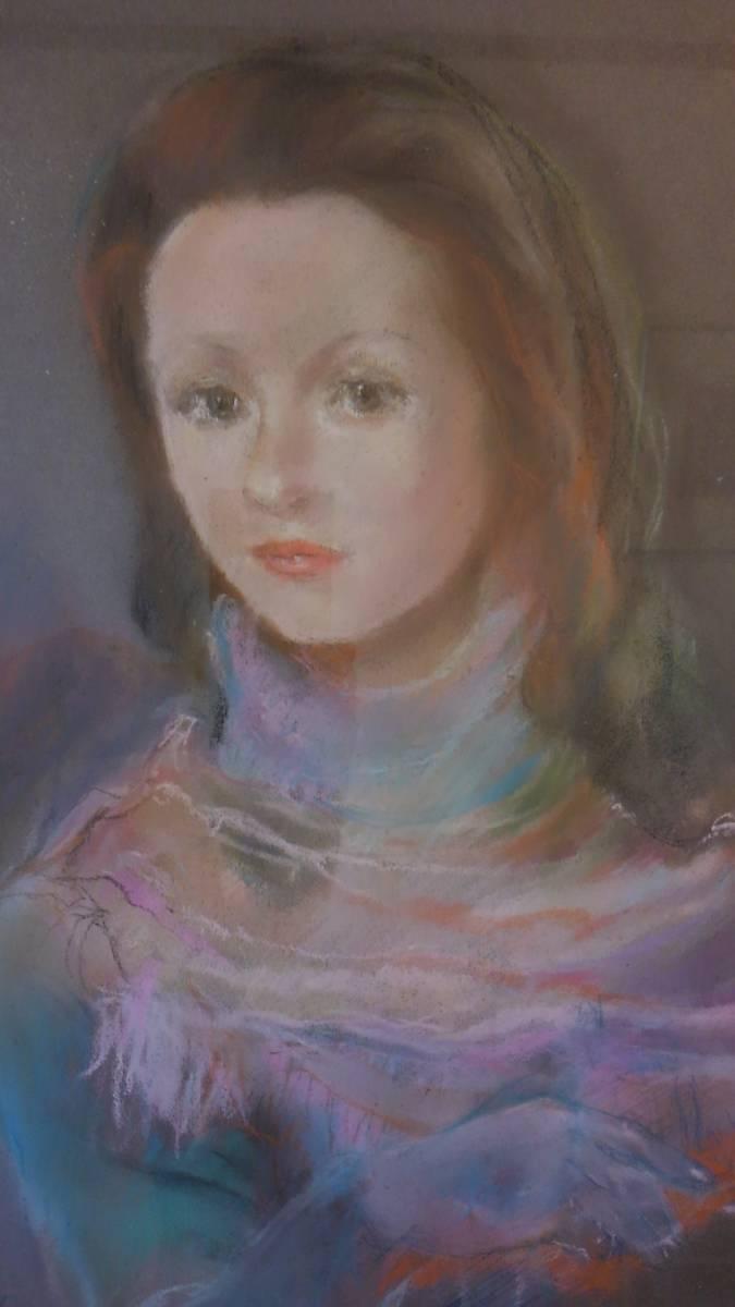 ◆◇松田穣 「女性」 パステル画 額装 美人画 真作保証◇◆_画像9