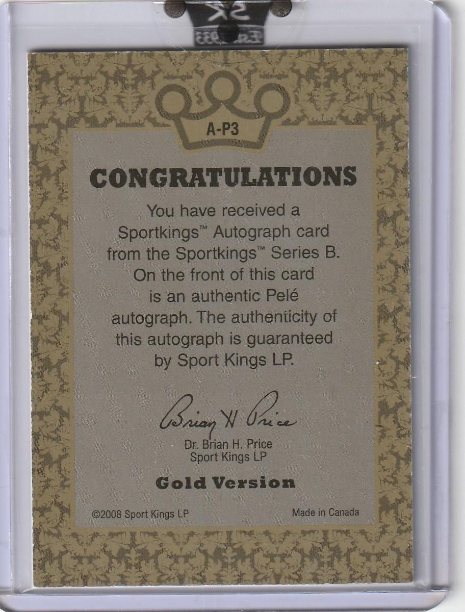 2008 SPORTKINGS Pele ペレ Autograph 初 直筆サインカード GOLD 10枚限定 SP A-P3_画像2