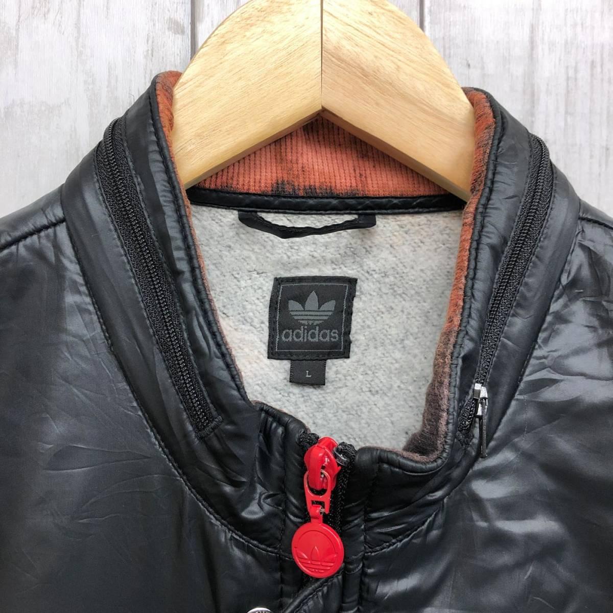 アディダス adidas ジャケット ジャージ スウェット ウィンドブレーカー ダウン 中綿 ブラック MA-1 ブルゾン メンズ Lサイズ 6-29_画像5