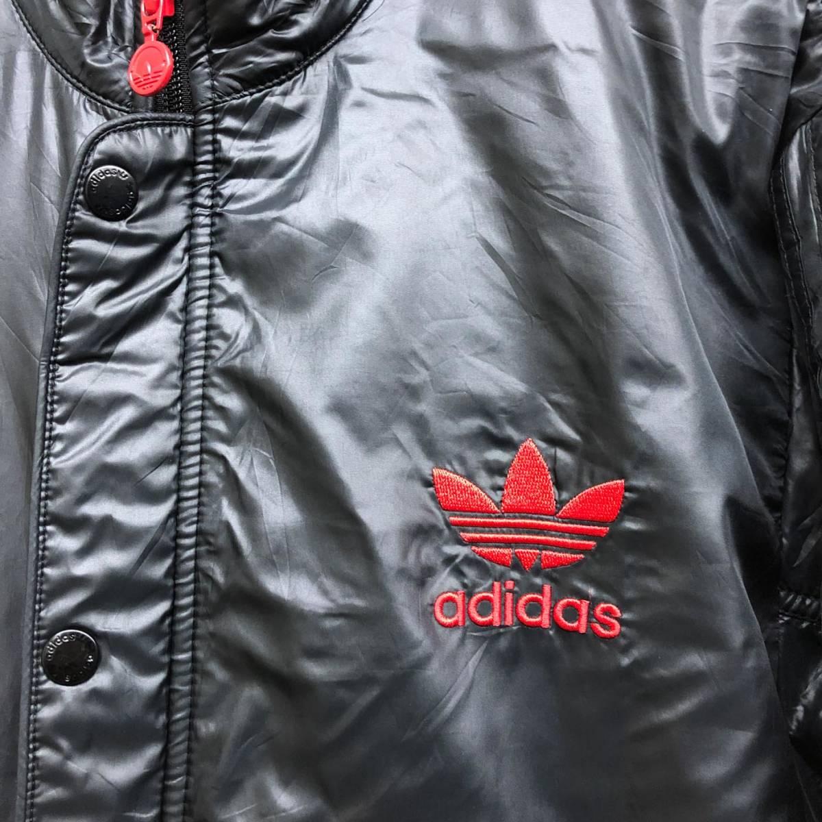 アディダス adidas ジャケット ジャージ スウェット ウィンドブレーカー ダウン 中綿 ブラック MA-1 ブルゾン メンズ Lサイズ 6-29_画像4