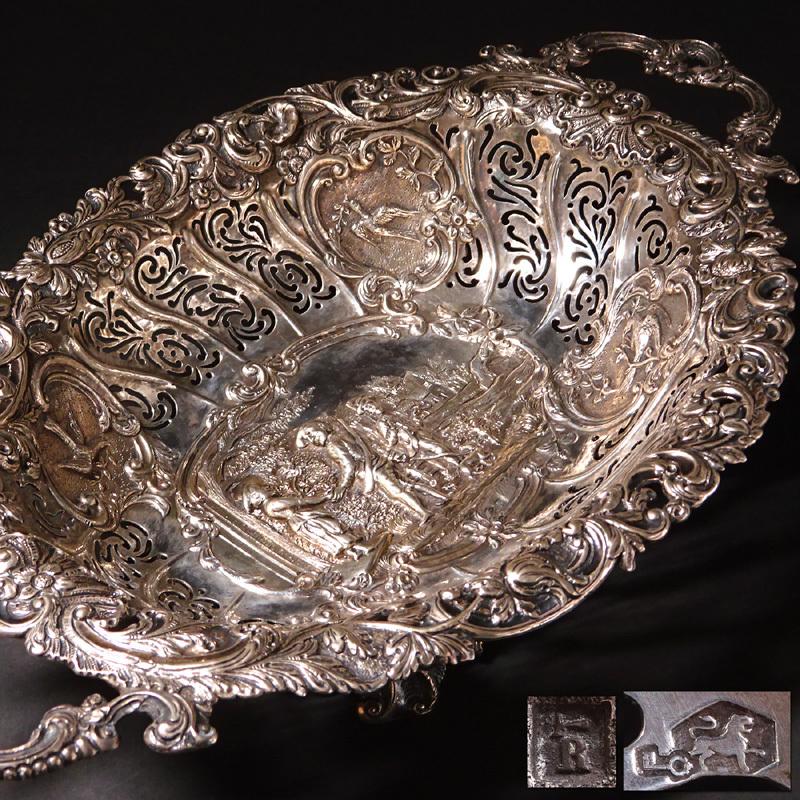 慶應◆20世紀初頭頃 オランダアンティーク 銀製透かし装飾コンポート
