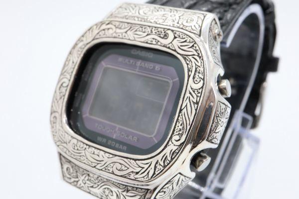BGD-5000 彫金カスタムGショック シルバー925 純銀 クロコベルト 鏡面加工 鑑定済 メンズ レディース ユニセックス G-SHOCKベビーG_画像2