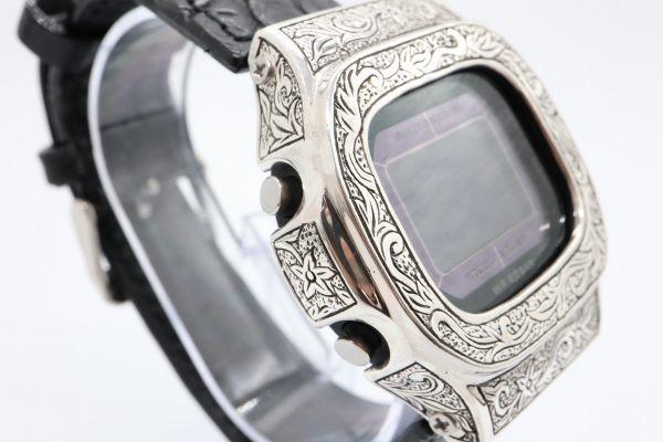 BGD-5000 彫金カスタムGショック シルバー925 純銀 クロコベルト 鏡面加工 鑑定済 メンズ レディース ユニセックス G-SHOCKベビーG_画像5