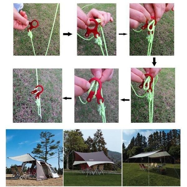ロープ バックル テンショナー 自在金具 キャンプ テント タープ ロープ張り
