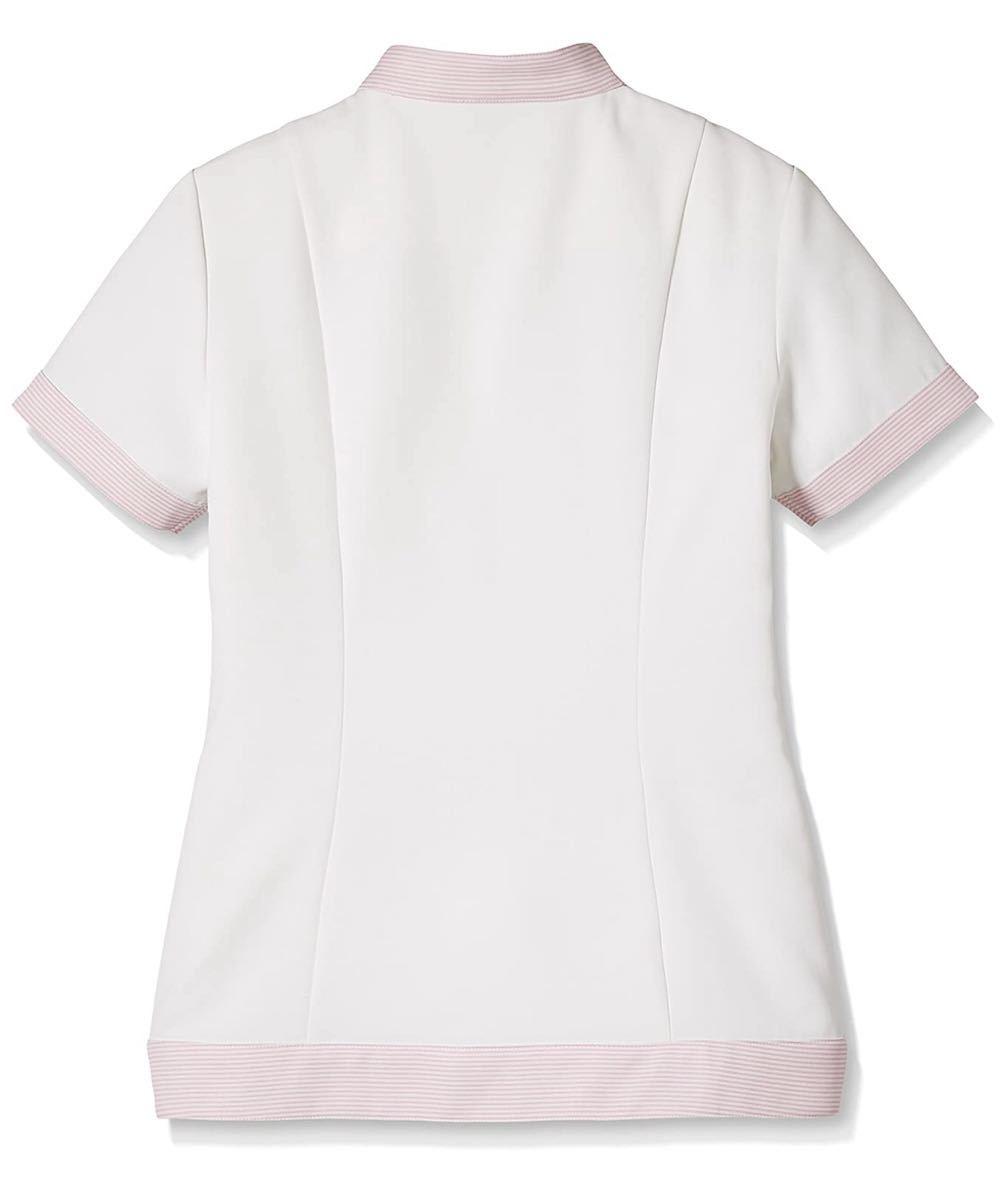 未開封新品】女子ジャケット白衣 ELサイズ ONWARD ピンクボーダー柄 ナース服 歯科衛生士 保育 介護 管理栄養士 理容 美容 看護 調理 受付_画像8
