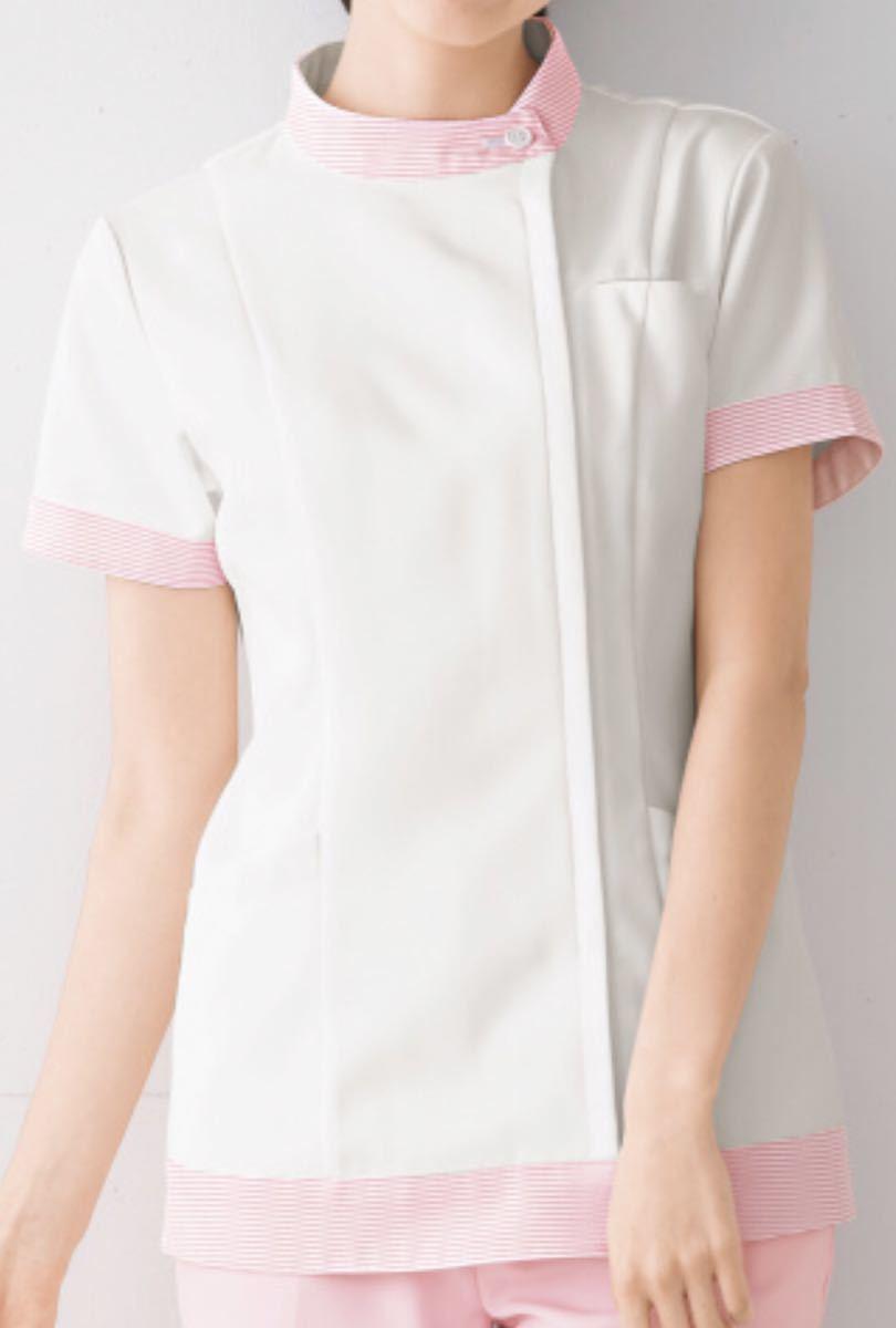 未開封新品】女子ジャケット白衣 ELサイズ ONWARD ピンクボーダー柄 ナース服 歯科衛生士 保育 介護 管理栄養士 理容 美容 看護 調理 受付_画像5