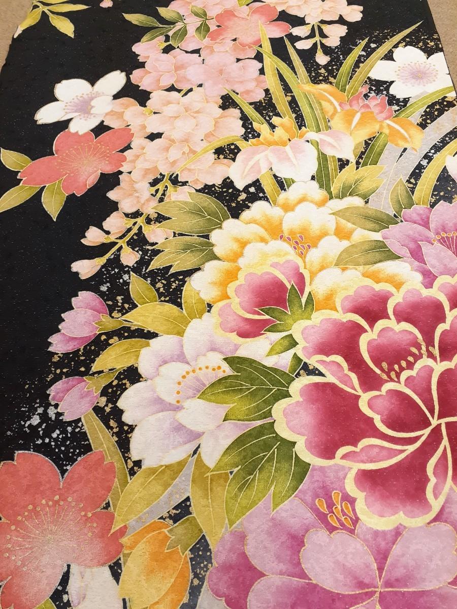正絹 20901 振袖生地 黒地 ピンク 花柄 シルク はぎれ ハギレ リメイク