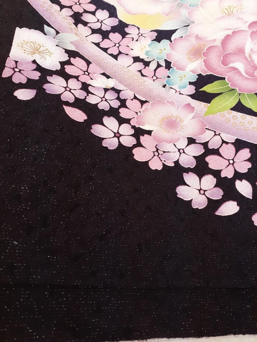 正絹 21602 振袖生地 紺紫 花柄 シルク はぎれ ハギレ リメイク