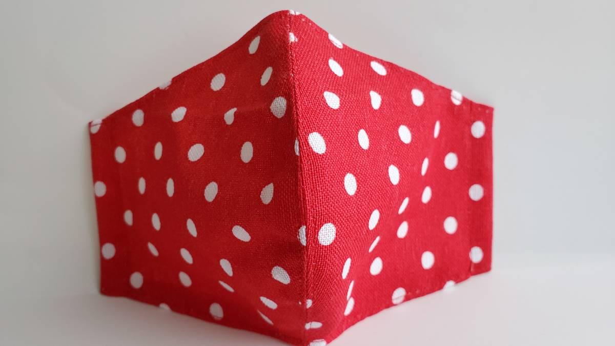 立体マスクカバー ドット柄 赤色 通気性の良い裏地 ダブルガーゼ_画像1