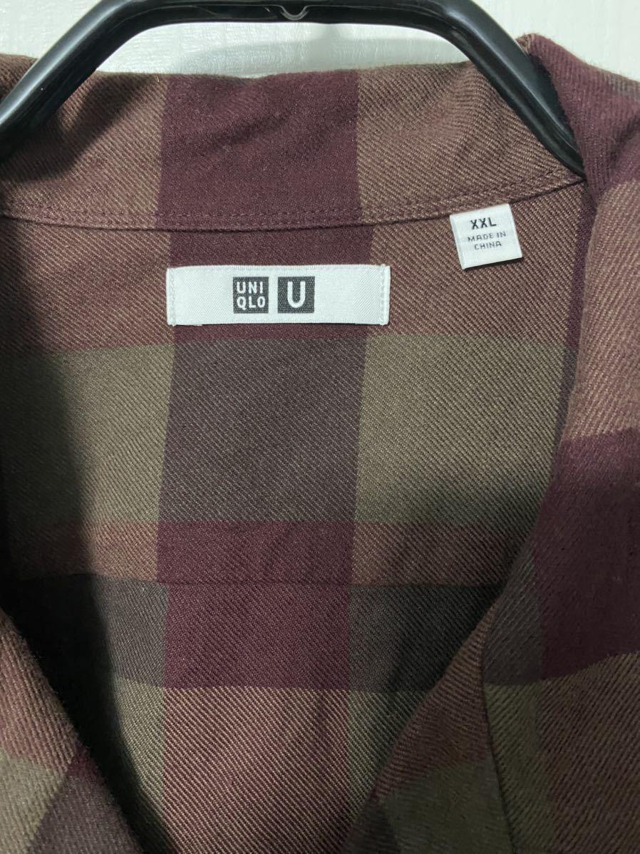 uniqlo u ユニクロユー ワイドフィットフランネルチェックシャツ オンラインストア限定XXL_画像3