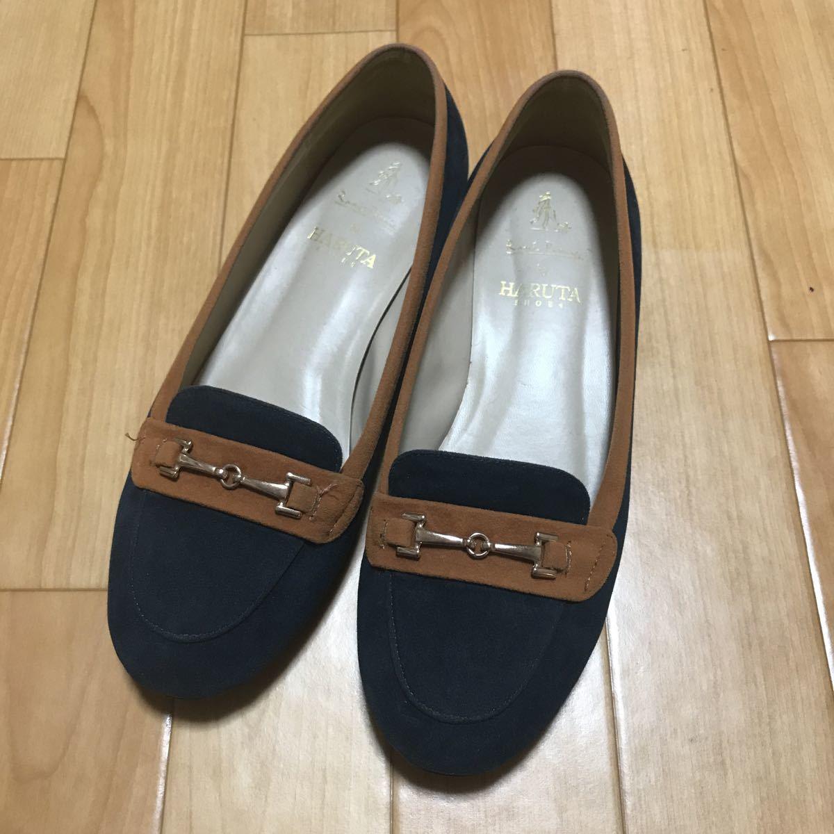 ロペピクニック ローファー 靴 レディース 38 パンプス ネイビー HARUTA _画像1