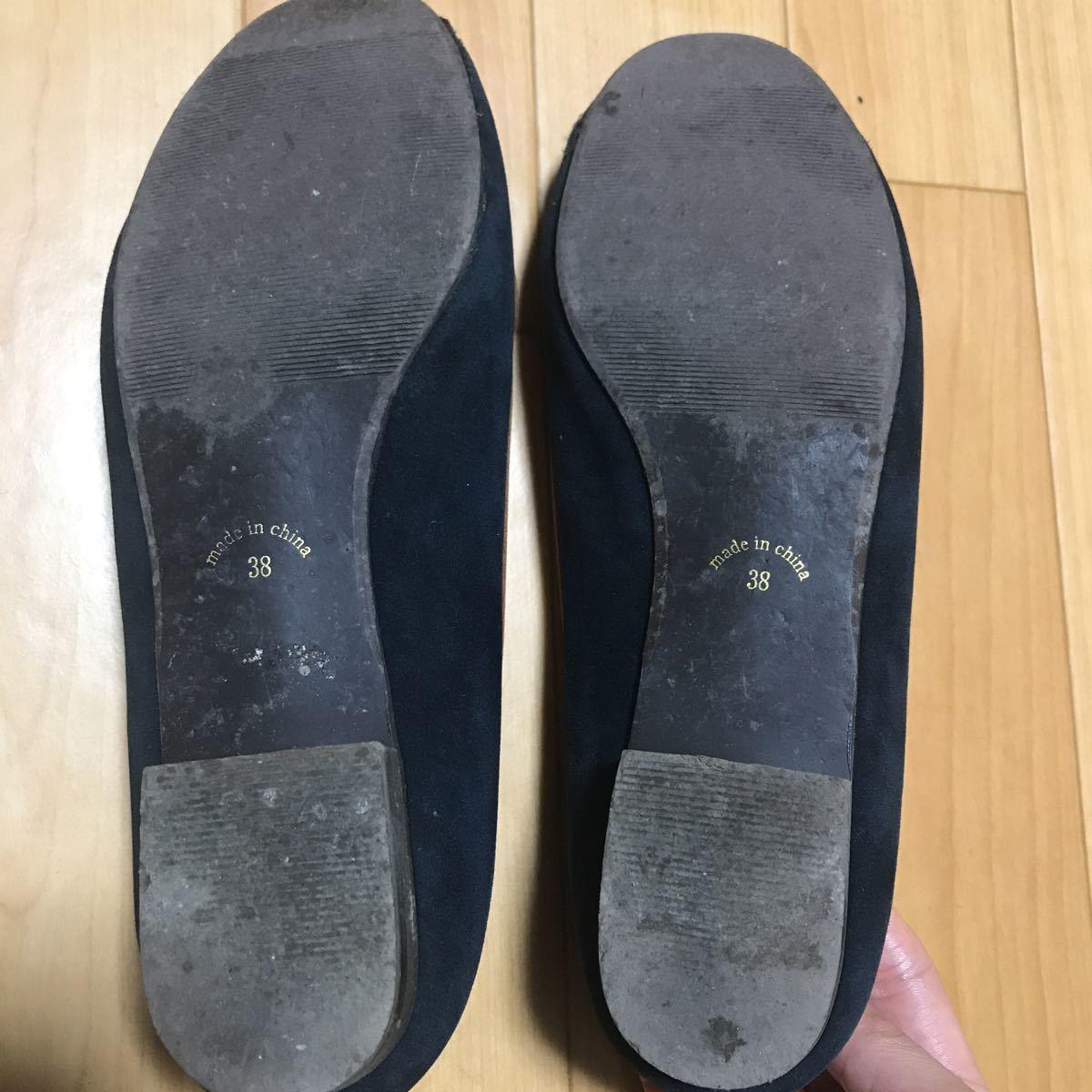 ロペピクニック ローファー 靴 レディース 38 パンプス ネイビー HARUTA _画像2
