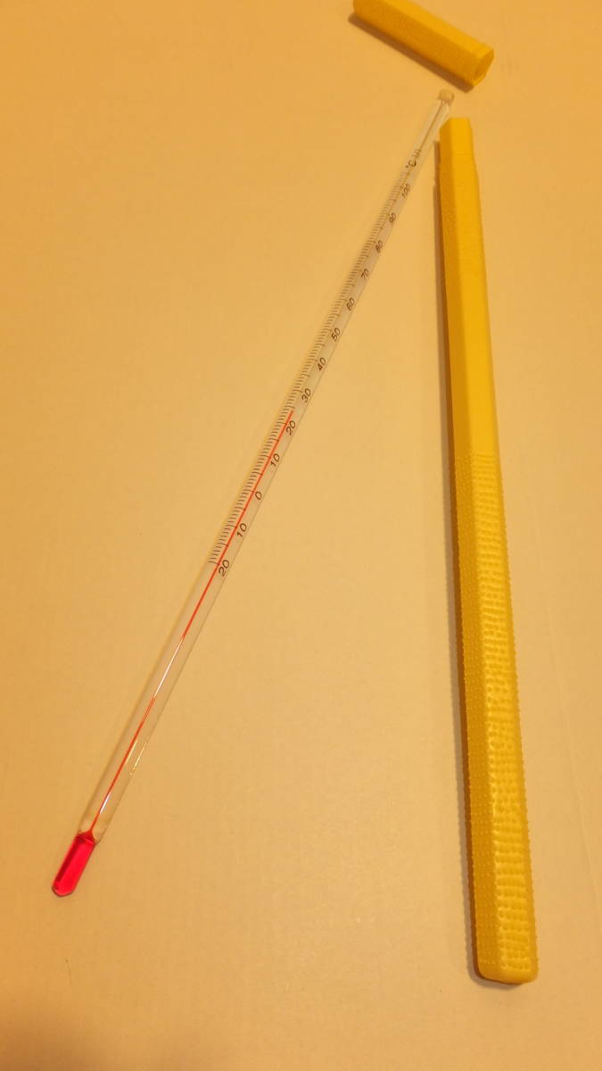 ★IC CORPORATION ★ Glass rod thermometer ガラス棒状温度計 ℃ -20度から+100度  USED IN JAPAN 長さ約30Cm Temperature Celsius_画像1