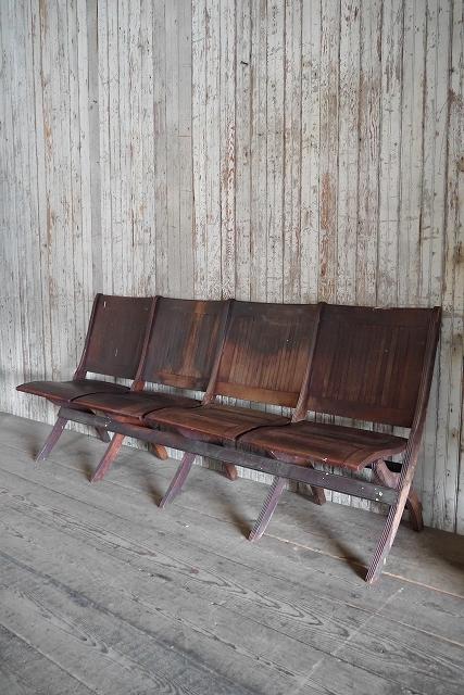 アンティークフォールディングウッドベンチ[asc1-270]スツール椅子インダストリアルビンテージコレクションチェアディスプレイインテリア_画像1