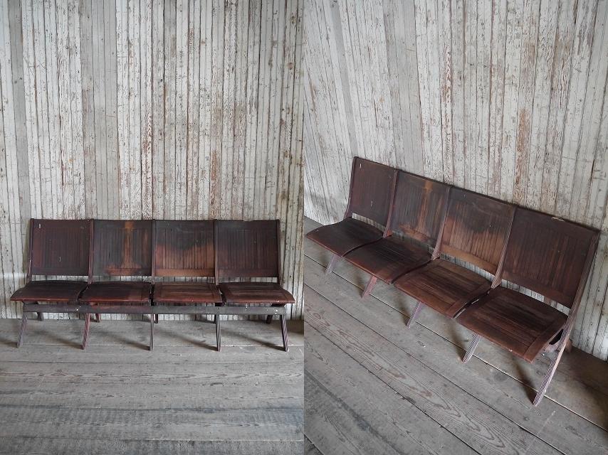 アンティークフォールディングウッドベンチ[asc1-270]スツール椅子インダストリアルビンテージコレクションチェアディスプレイインテリア_画像2