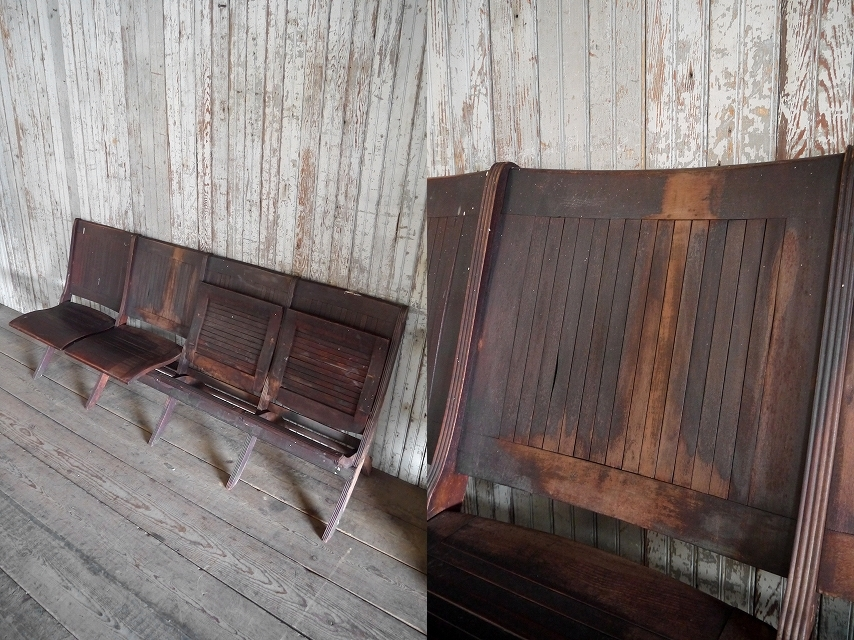 アンティークフォールディングウッドベンチ[asc1-270]スツール椅子インダストリアルビンテージコレクションチェアディスプレイインテリア_画像4