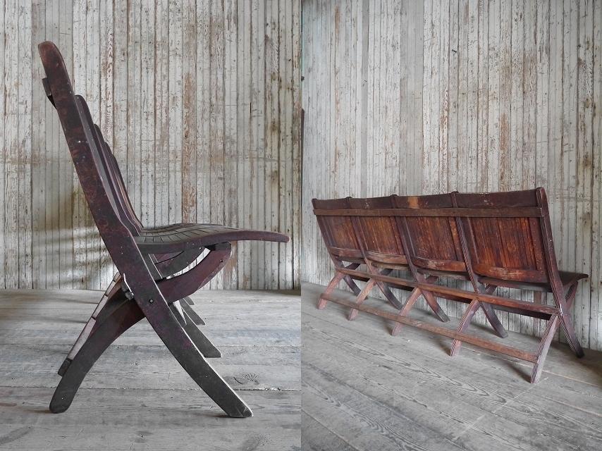 アンティークフォールディングウッドベンチ[asc1-270]スツール椅子インダストリアルビンテージコレクションチェアディスプレイインテリア_画像5