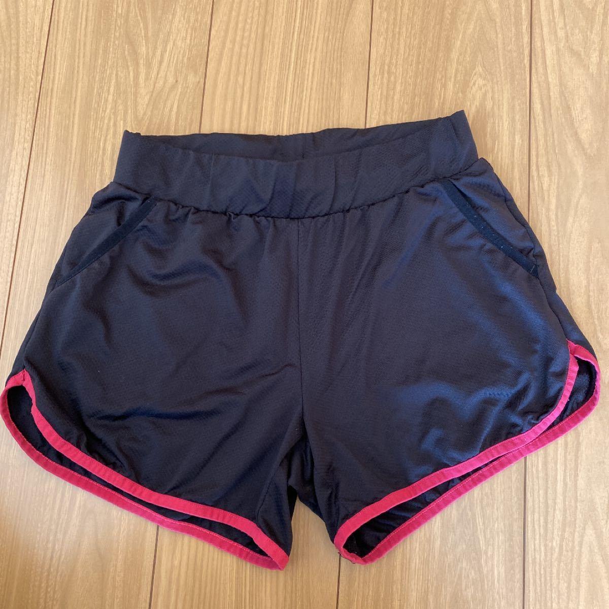 ランニングパンツ ショートパンツ レディース Lサイズ ブラック ピンクのライン