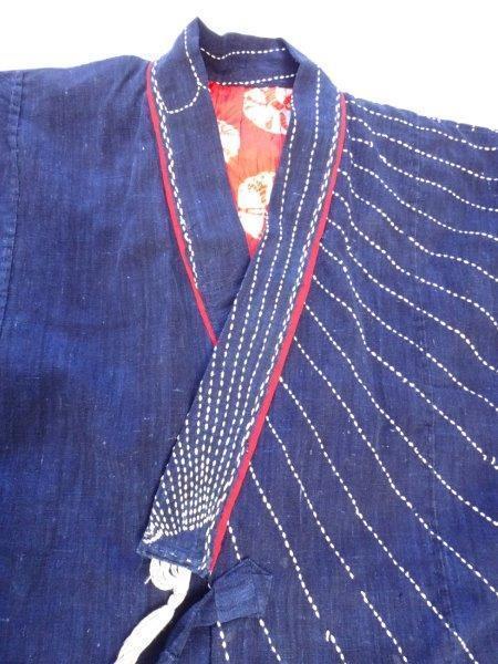 藍染刺し子生地リメイク 裏地絞り 藍染木綿古布 0222T8G_画像3