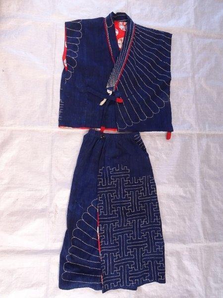 藍染刺し子生地リメイク 裏地絞り 藍染木綿古布 0222T8G_画像7