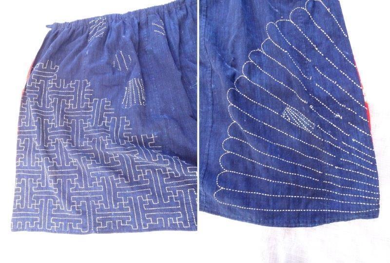 藍染刺し子生地リメイク 裏地絞り 藍染木綿古布 0222T8G_画像10