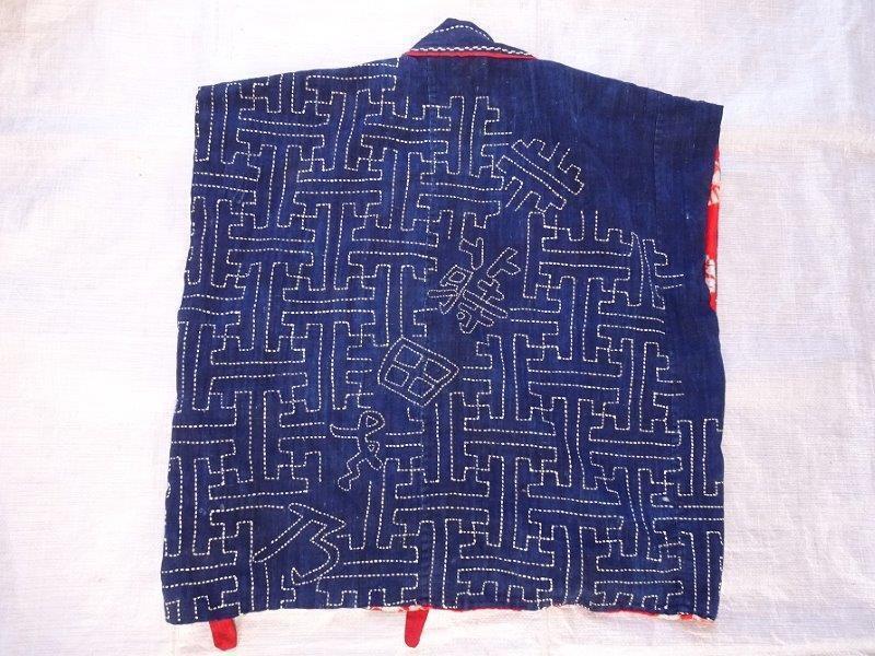 藍染刺し子生地リメイク 裏地絞り 藍染木綿古布 0222T8G_画像2