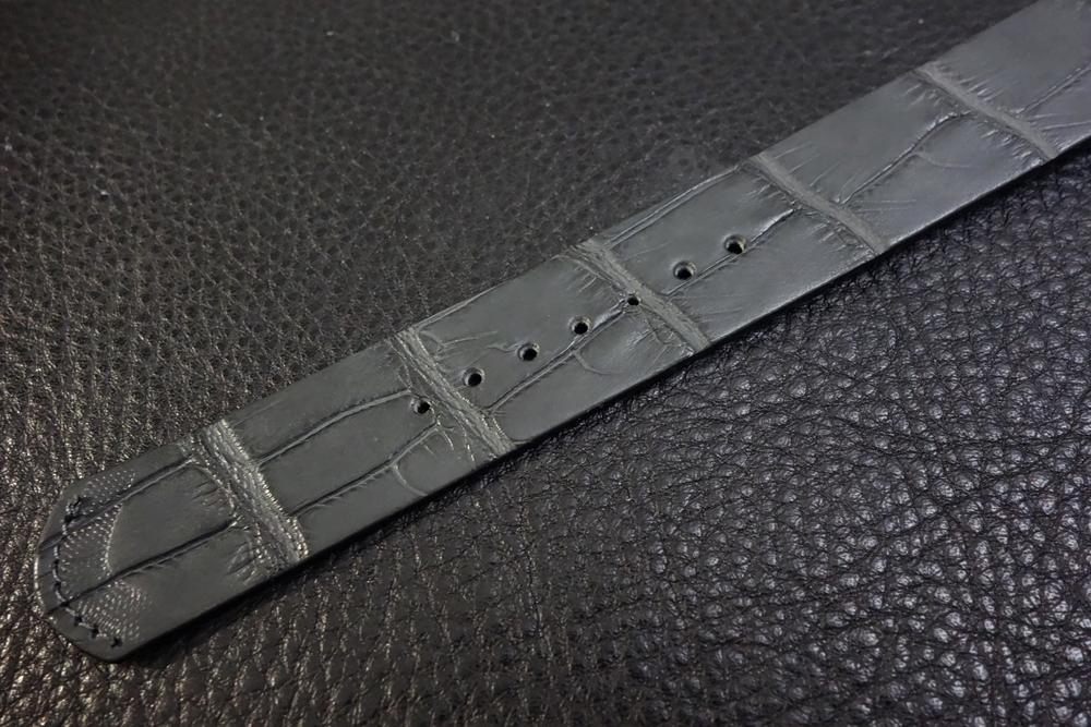 ◆クロコダイルNATO G10ストラップ◆本クロコダイルレザー マットグレー 20mm 強撥水 日本製 ワニ革 ミリタリー ブレスレット 腕時計ベルト_画像3