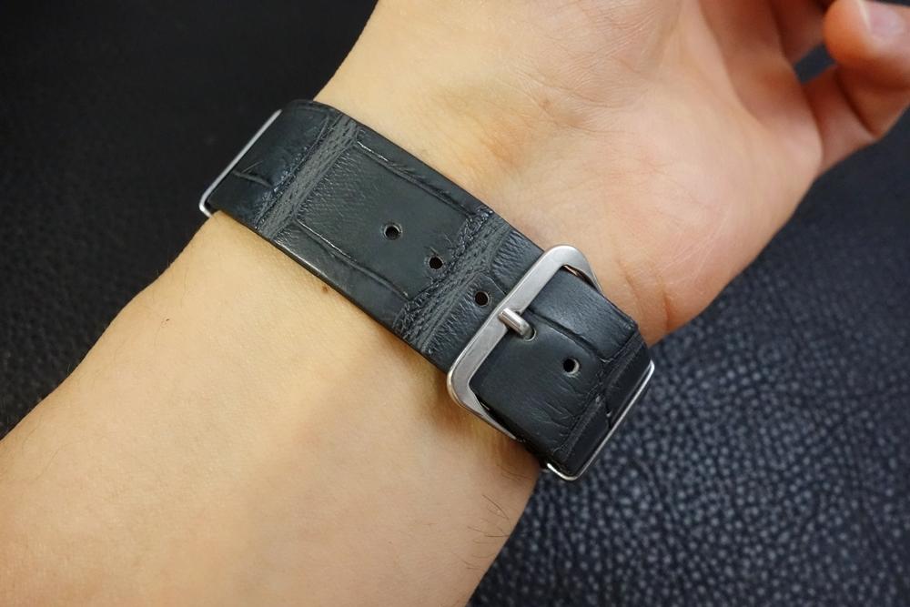 ◆クロコダイルNATO G10ストラップ◆本クロコダイルレザー マットグレー 20mm 強撥水 日本製 ワニ革 ミリタリー ブレスレット 腕時計ベルト_画像7