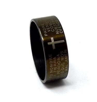 送料165円☆特価♪U07 size15号 ステンレスリング 指輪 十字架 クロス デザイン ブラック