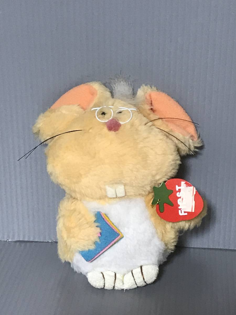that time thing Vintage Showa Retro tag attaching First Bb lato glasses glasses mouse soft toy orange made in Japan