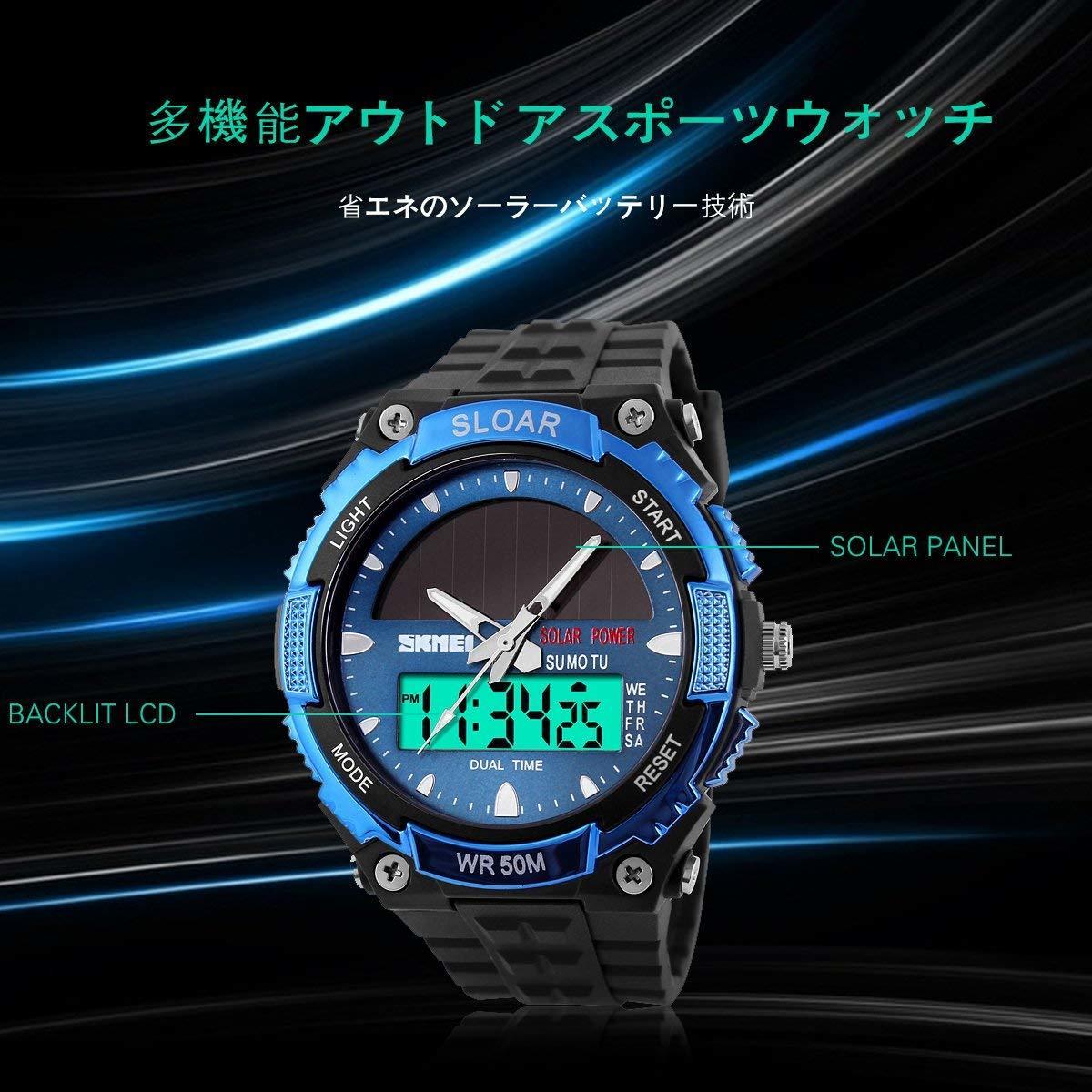 49blue ソーラー腕時計 メンズ デジアナウォッチ スポーツ 人気ブランド おしゃれ ファション クロノグラフ シリコン [_画像6